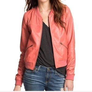 Nordstrom Trouve Leather Perforated Bomber Jacket